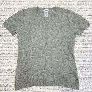 100% 2 Ply Cashmere Gray Short Sleeve Sweater